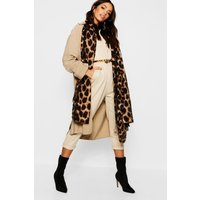 Womens Leopard Oversized Blanket Scarf - Brown - One Size, Brown
