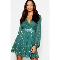 Womens Wrap Front Metallic Polka Dot Skater Dress - Green - 14, Green