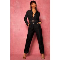 Womens Suedette Utility Cargo Belted Jumpsuit - Black - 16, Black
