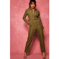 Womens Suedette Utility Cargo Belted Jumpsuit - green - 14, Green