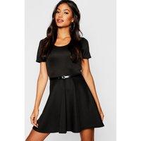 Womens Short Sleeve Belted Skater Dress - black - 6, Black