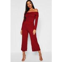 Womens Basic Jumbo Rib Bardot Culotte Jumpsuit - red - 8, Red