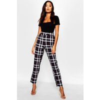 Womens Woven Tartan Check Slim Fit Trousers - black - 12, Black