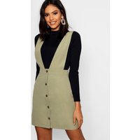 Womens Plunge Front Button Pinafore Dress - green - 8, Green