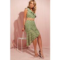 Womens Polka Dot Check Asymmetric Frill Midi Skirt - green - 10, Green