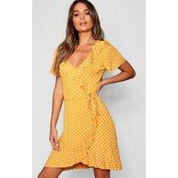 Womens Polka Dot Wrap Front Ruffle Tea Dress - yellow - 16, Yellow