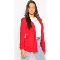 Womens Oversized V Detail Ruche Sleeve Blazer - Red - 10, Red