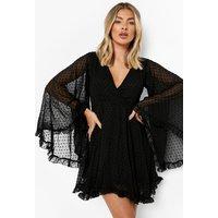 Womens Dobby Chiffon Wide Sleeve Skater Dress - Black - 8, Black