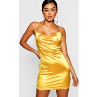 Womens Satin Cowl Front Bodycon Dress - yellow - 6, Yellow