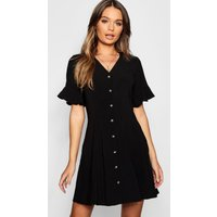 Womens Button Through Flared Sleeve Shift Dress - black - 10, Black