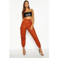 Womens High Waist Woven Pocket Cargo Trousers - Beige - 14, Beige