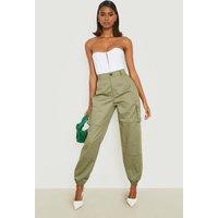 Womens High Waist Woven Pocket Cargo Trousers - green - 10, Green