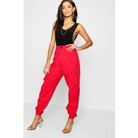 Womens High Waist Woven Pocket Cargo Trousers - red - 12, Red