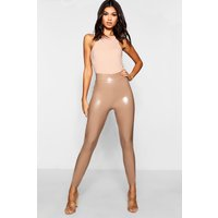 Womens High Waist Stretch Vinyl Leggings - beige - 16, Beige