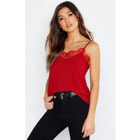 Womens Eyelash Lace Trim Woven Cami - red - 10, Red