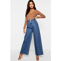 Womens Belted High Waisted Wide Leg Jeans - blue - 8, Blue