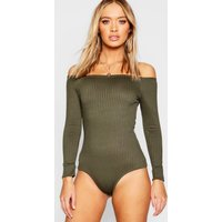 Womens Off Shoulder Jumbo Rib Bodysuit - green - 8, Green