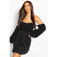 Womens Basic Box Pleat Skater Mini Skirt - black - 10, Black