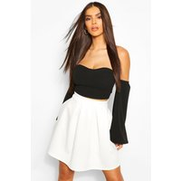 Womens Basic Box Pleat Skater Mini Skirt - white - 8, White