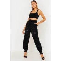 Womens Woven Cargo Utility Pocket Trouser - black - 8, Black