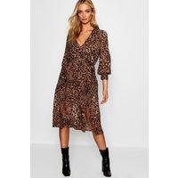 Womens Wrap Front Leopard Print Midi Dress - Black - 12, Black