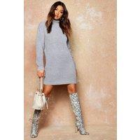 Womens Roll Neck Jumper Dress - grey - XS, Grey