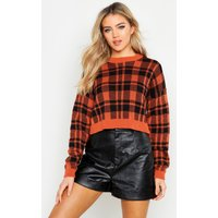 Womens Check Crop Jumper - beige - S, Beige