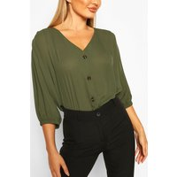 Womens Horn Button Through Blouse - green - 16, Green