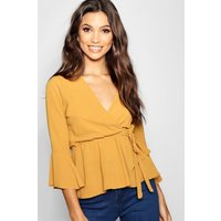 Womens Wrap Front Peplum Hem Blouse - yellow - 8, Yellow