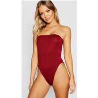 Womens Basic Bandeau Bodysuit - red - 12, Red