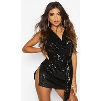 Womens Sequin Cowl Neck Belted Mini Dress - black - 14, Black