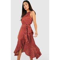 Womens Satin Polka Dot Frill Detail Midi Dress - Orange - 16, Orange