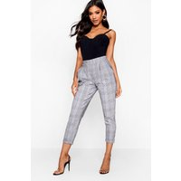 Womens Prince Of Wales Check Tapered Trouser - white - 10, White