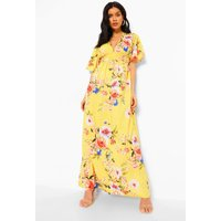 Womens Cap Sleeve Shirred Waist Floral Maxi Dress - yellow - 10, Yellow