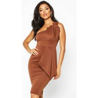 Womens One Shoulder Pleated Detail Midi Dress - brown - 10, Brown