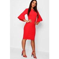 Womens 3/4 Angel Sleeve Crew Neck Midi Dress - red - 10, Red