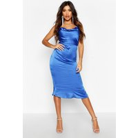 Womens Satin Cowl Neck Lace Up Fish Tail Midi Dress - blue - 14, Blue