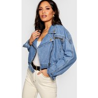 Womens Crop Biker Zip Denim Jacket - blue - 10, Blue