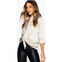 Womens Woven Satin Oversized Long Sleeve Shirt - Beige - 14, Beige