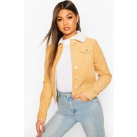 Womens Borg Collar Cord Jacket - brown - 10, Brown