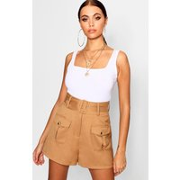 Womens Belted Utility Pocket Button Cargo Shorts - beige - 10, Beige