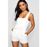 Womens Top Stitch Square Neck Pocket Playsuit - white - 8, White