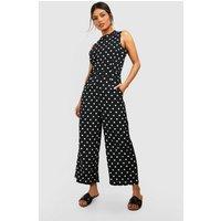 Womens High Neck Polka Dot Jumpsuit - black - 10, Black