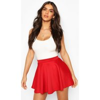Womens Basic Micro Fit And Flare Skater Skirt - Red - 14, Red