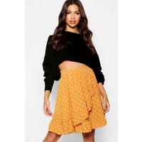 Womens Woven Polka Dot Ruffle Mini Skirt - yellow - 12, Yellow