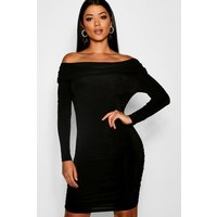 Womens Abi Off the Shoulder Ruched Bodycon Dress - black - 8, Black