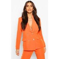 Womens Double Breasted Boxy Military Blazer - Orange - 8, Orange