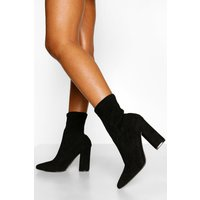 Womens Wide Fit Block Heel Sock Boots - black - 8, Black