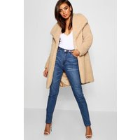 Womens Shawl Collar Teddy Faux Fur Jacket - beige - S, Beige