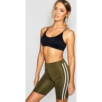 Womens Fit Side Stripe Cycling Shorts - Green - 12, Green